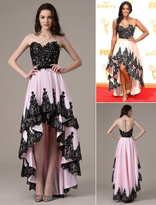Vestidos de celebridades Porsha Williams Emmys Illusion Pink Lace Taffeta High High Dress
