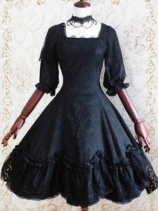 Vestido de Lolita gótica do Jacquard meia manga babados do laço