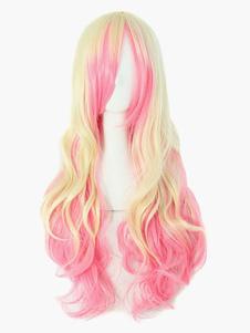 Carnaval Blunt flequillo Harajuku Beige y rosa destaca rizado Cosplay peluca Halloween