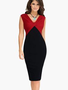 Bodycon vestito di Color Block con scollo a v cotone Blend senza maniche donna
