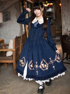 Dulce Alicia en el país de las maravillas de cordón sintético manga larga Lolita Vestido
