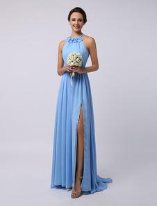 Пол длины высокого Сплит Холтер Трапеция драпированные шифона платье невесты