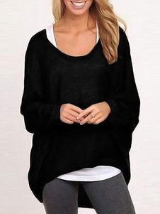 Camisola preta feminina Manga comprida Alto baixo Pullover Têxtil Top