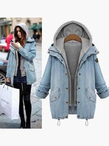 Superdimensionada Denim com capuz casaco com bolsos