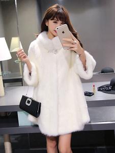 فو الفراء معطف المرأة الأبيض فو الفراء سترة الشتاء خندق معطف 2020