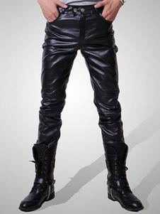 Pantalones 2020 de Hombre Negro Cremallera Corte de bota acanalado delgado Pantalones de Cuero para Hombres