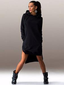 Hi-Lo Split Hooded Shift Dress