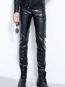 Pantalones de hombre 2020 delgados cuero de PU