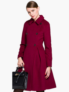 abrigo mujer Color borgoña con escote V amplio de mezclada de lana Color liso con manga larga con botones de corte ajustada