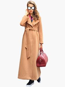 مزيج الصوف معطف طويل التفاف