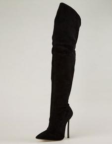 Over Knee Boots High Heel Suede Black Pointed Toe Coxa Botas altas