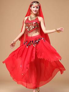 Костюм танца живота женский красный блеск шифон Болливуд танцевальное платье