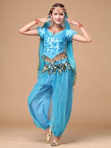 Костюм танца живота женщин синий шифон Болливуд танцевальное платье в 4 шт
