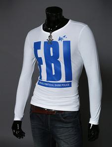 Camiseta de manga larga de algodón con cuello redondo blanco