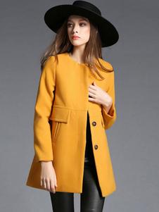 Желтое пальто с длинным рукавом Желтое зимнее пальто для женщин