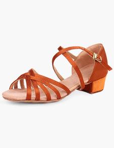 Sapatos De Dança De Salão 2020 Cetim Café Castanho Open Toe Sapatos De Dança Para Crianças