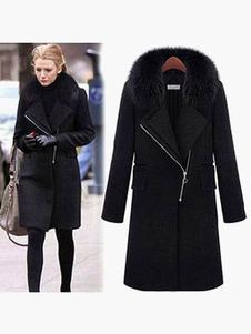 Cappotto invernale nero Cappotto in pelliccia sintetica a maniche lunghe con zip intera