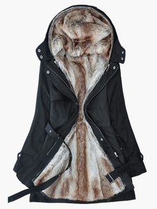 Abrigo Mujer Abrigo con Capucha de Piel Sintética con Mangas Largas Chaquetas Militares Parka de Lana Abrigo de Invierno 2020