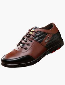 Dedo del pie redondo de encaje hasta zapatos del elevador
