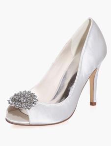 Zapatos de novia de satén 9.5cm Zapatos de Fiesta Zapatos blanco  de tacón de stiletto Zapatos de boda de punter Peep Toe con pedrería