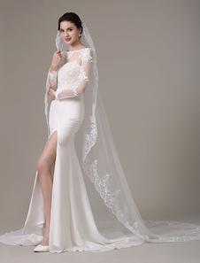 العاج الدانتيل زين حافة الحجاب الزفاف