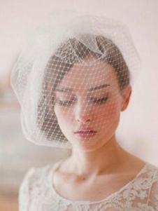 أبيض تول العروس الزفاف الخدود الحجاب