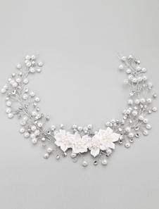 Casamento do Metal pérola imitação Vintage branco cabelo jóias