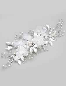 Flores brancas de pérolas de imitação, pente de casamento