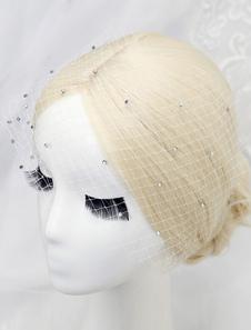 Véu de gaiola líquido branco strass