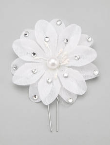 Cabelo branco flor liga Hairpin para casamento