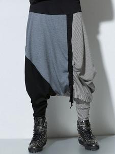 Pantalones de harén de mezcla multicolor de algodón anudado para hombres
