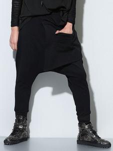 Anillos negro pantalones de harén de algodón para hombres