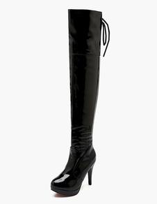 Черная патентная полиуретановая платформа над сапогами для колен для женщины