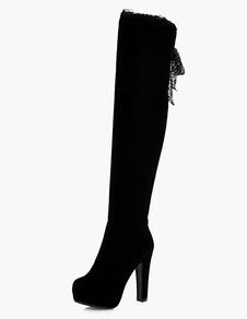 Botas altas mujer botas altas negras Piel sintética de tacón gordo de puntera redonda 12cm Invierno Otoño 4cm Cremallera para ocasión informal