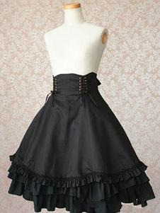 Gothic Lolita Vestido SK Preto Ruffles Algodão De Cintura Alta Lolita Saias