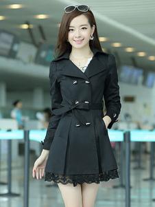 Algodão preto mistura vestido casaco para mulher