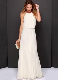 Vestidos De Dama De Honra 2020 Longo Chiffon Branco Plissado Halter Mulheres Até O Chão Vestido Maxi