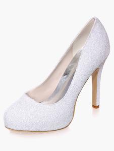 Tessuto con paillettes sera e scarpe da sposa