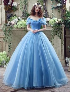 Vestido de Cinderela Azul Organza Tulle Fora do Vestido de Vestido de Bola de Ombro com Trem da Capela
