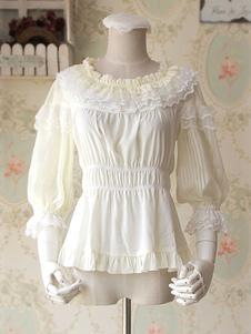 Сладкая Лолита шифон блузка средними рукавами круглый кружевной воротник