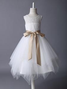 Vestido Da Menina De Flor 2020 De Renda Marfim Tutu Vestido De Fita De Cetim Arco Faixa Ilusão Crianças Vestido De Festa
