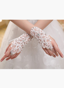 Luvas de casamento de renda sem dedos marfim