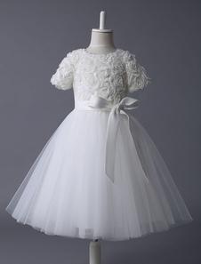 Ivory Flower Girl Vestido Lace Tutu Vestido Ribbon Bow Sash Meia manga Short Kids Party Dresses