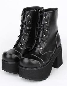 بو الجلود السوداء بو كعب لوليتا أحذية للبنات