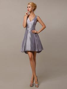 Prata Grey Vestidos de dama de honra V Neck tafetá vestido de dama de honra curto Milanoo
