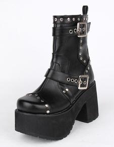 Botas de tacón negras de la PU plataforma Lolita para niñas