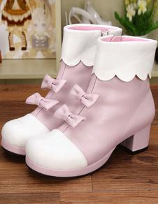 Luz rosa PU Lolita botas de tacón para niñas