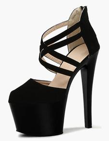Nero Micro pelle scamosciata sandali per le donne