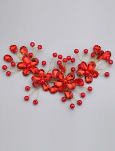الأحمر حجر الراين اللؤلؤ سبيكة الزفاف دبوس