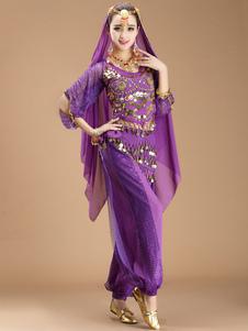 Traje de dança do ventre roxo Sexy vestido de dança de Bollywood para mulheres